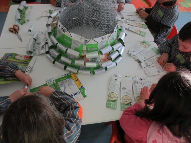 As crianças enrolaram as tiras feitas com as embalagens de tetra pak.