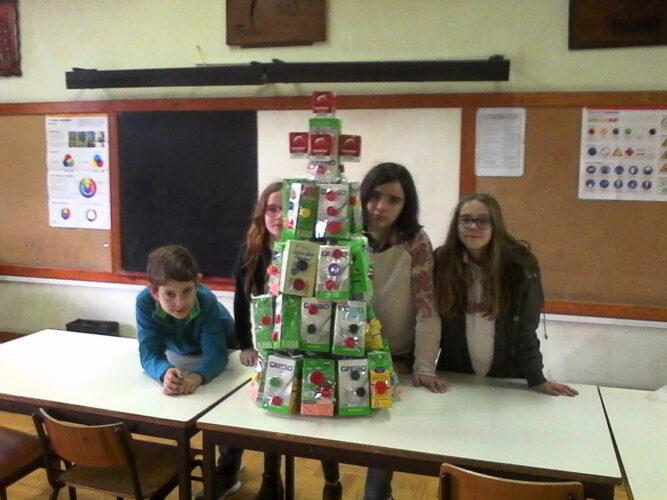 Grupo de alunos com a árvore