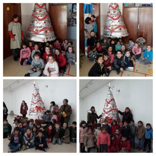 Exposição da árvore no átrio do jardim de infância do castanheiro e turma.<br/>Exposição da árvore no auditório Adácio Pestana de Tarouca.