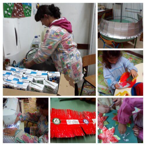 Lavagem das embalagens aluna de CEI<br/>Estrutura de arame;<br/>Costura das telas aluna de CEI<br/>Decoração das flores com o símbolo Tetra Pack Protege o que é bom;<br/>Pintura da fita