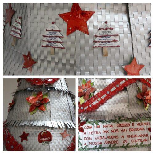 """Pormenores da árvore<br/>Mensagem """"Com um Natal Guloso e Vermelho, <br/> A Tetrapack nos vai brindar.<br/> Com embalagens a engalanar,<br/> A nossa árvore vai cintilar!"""""""