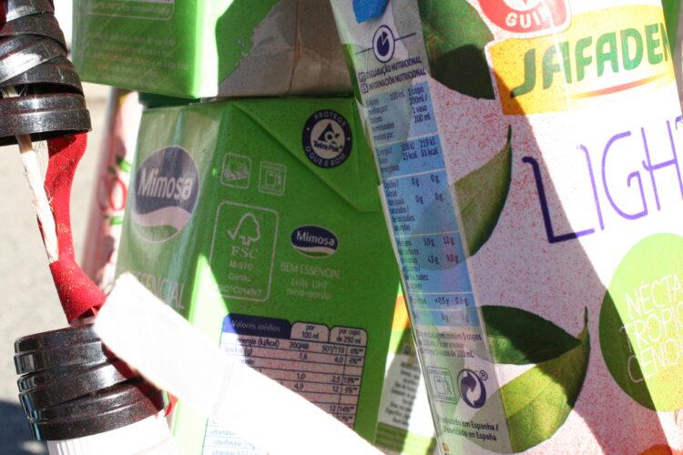 Pormenor dos símbolos das embalagens utilizadas